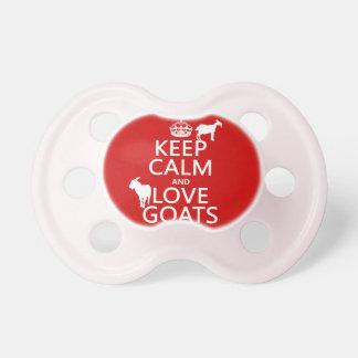 Behalten Sie Ruhe-und Liebe-Ziegen Schnuller