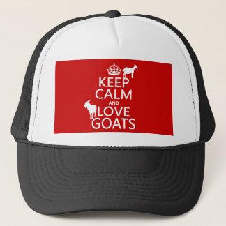 Behalten Sie Ruhe-und Liebe-Ziegen Truckerkappe