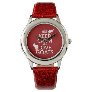 Behalten Sie Ruhe-und Liebe-Ziegen Uhr