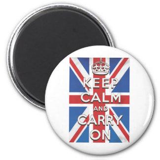 Behalten Sie Ruhe und machen Sie britische Flagge Runder Magnet 5,1 Cm