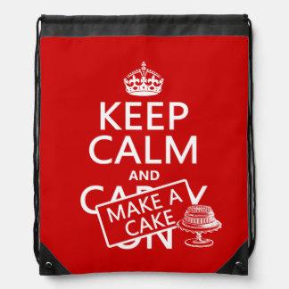 Behalten Sie Ruhe und machen Sie einen Kuchen Turnbeutel