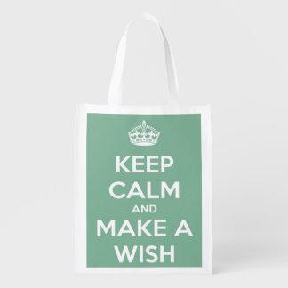 Behalten Sie Ruhe und machen Sie einen Wunsch Wiederverwendbare Einkaufstasche