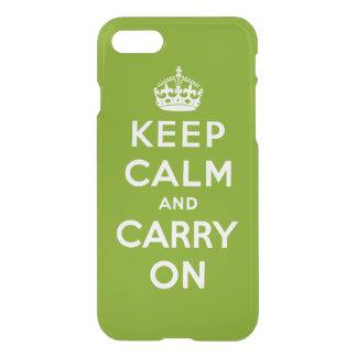 behalten Sie Ruhe und machen Sie - Grün und Weiß iPhone 8/7 Hülle