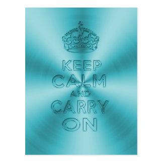 Behalten Sie Ruhe und machen Sie hellblaues Postkarte