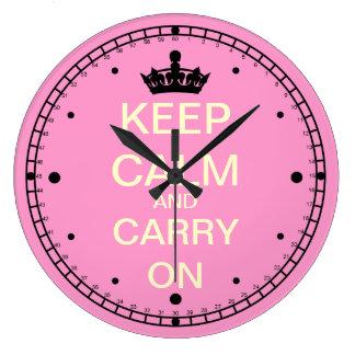 Behalten Sie Ruhe und machen Sie rosa Wand-Uhr Große Wanduhr