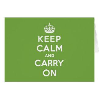 Behalten Sie Ruhe und machen Sie Smaragdgrün Karte