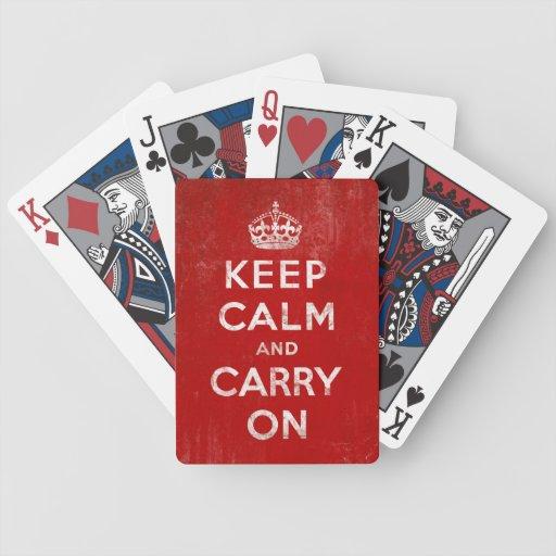 Behalten Sie Ruhe und machen Sie Vintage rote Spie Spielkarten