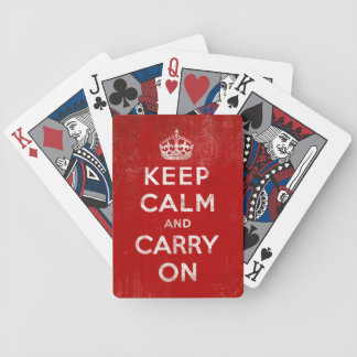 Behalten Sie Ruhe und machen Sie Vintage rote Pokerkarten