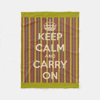 Behalten Sie Ruhe und machen Sie Vintage Streifen Fleecedecke
