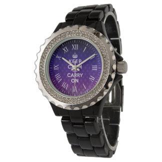 Behalten Sie Ruhe und machen Sie | Vintagen lila Armbanduhr