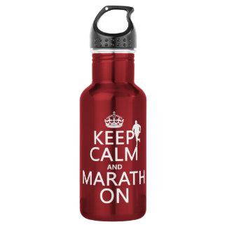 Behalten Sie Ruhe und Marath an Trinkflasche