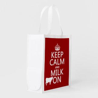 Behalten Sie Ruhe und Milch auf (Kühe) (in allen Wiederverwendbare Einkaufstasche