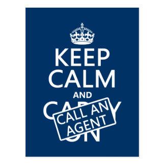 Behalten Sie Ruhe und nennen Sie einen Agenten Postkarte