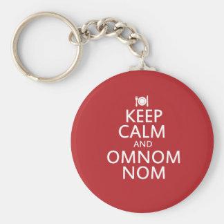 Behalten Sie Ruhe und Omnom Nom Standard Runder Schlüsselanhänger