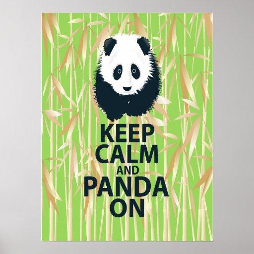 Behalten Sie Ruhe und Panda auf Plakat-Kunst-Druck