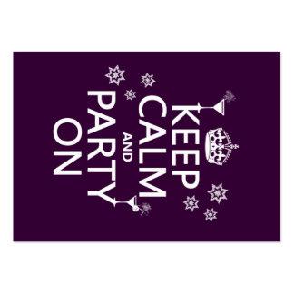 Behalten Sie Ruhe und Party an - alle Farben Visitenkarten