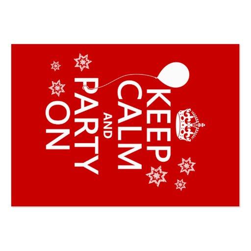 Behalten Sie Ruhe und Party an - alle Farben Visitenkartenvorlage