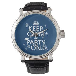 Behalten Sie Ruhe und Party auf (Weihnachten) Armbanduhr