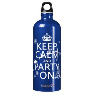 Behalten Sie Ruhe und Party auf (Weihnachten) Wasserflasche