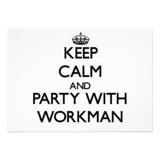 Behalten Sie Ruhe und Party mit Arbeiter Einladungskarten