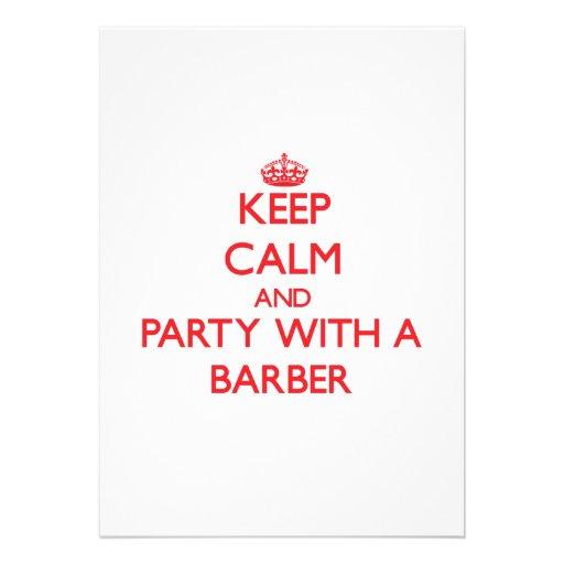 Behalten Sie Ruhe und Party mit einem Friseur Individuelle Ankündigskarten