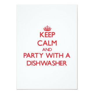 Behalten Sie Ruhe und Party mit einer Spülmaschine Personalisierte Ankündigungskarte