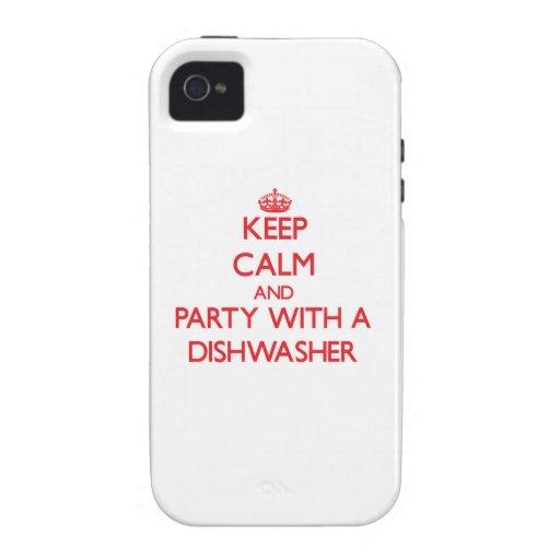 Behalten Sie Ruhe und Party mit einer Spülmaschine Vibe iPhone 4 Case