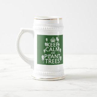 Behalten Sie Ruhe und Pflanzen-Bäume (alle Farben) Bierglas