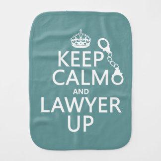 Behalten Sie Ruhe und Rechtsanwalt oben Baby Spucktuch