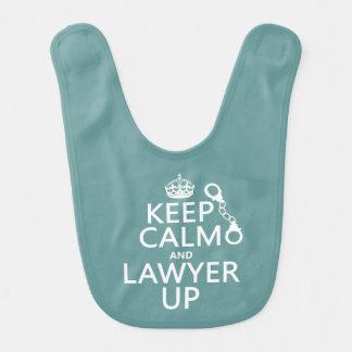 Behalten Sie Ruhe und Rechtsanwalt oben Babylätzchen