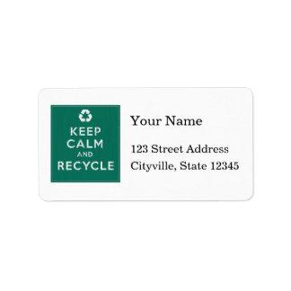 Behalten Sie Ruhe und recyceln Sie Adressaufkleber