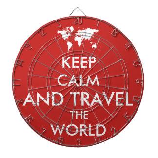 Behalten Sie Ruhe und reisen Sie die Welt Dartscheibe