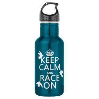 Behalten Sie Ruhe und Rennen auf (Tauben) (alle Edelstahlflasche
