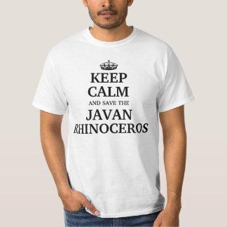 Behalten Sie Ruhe und retten Sie das Javan Nashorn T-Shirt
