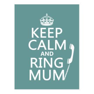 Behalten Sie Ruhe-und Ring-Mama - alle Farben Postkarte