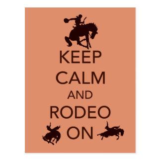 Behalten Sie Ruhe und Rodeo auf Postkarte