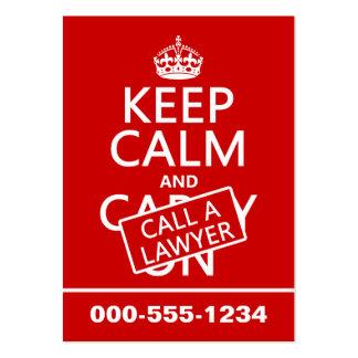 Behalten Sie Ruhe und rufen Sie einen Rechtsanwalt Jumbo-Visitenkarten