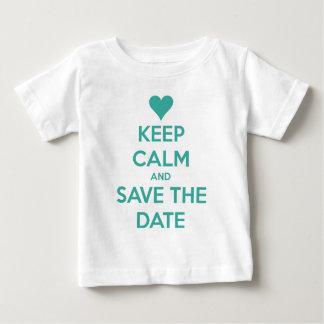 Behalten Sie Ruhe und Save the Date Blau Baby T-shirt