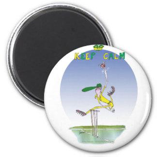 behalten Sie Ruhe und schleudern Sie den Ball, Runder Magnet 5,7 Cm