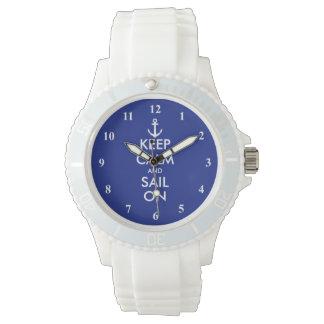 Behalten Sie Ruhe und Segel auf Armbanduhr