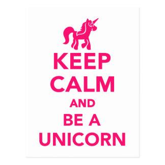 Behalten Sie Ruhe und seien Sie ein Unicorn Postkarte