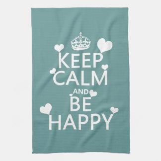 Behalten Sie Ruhe und seien Sie glücklich Handtuch