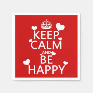 Behalten Sie Ruhe und seien Sie glücklich Serviette