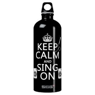 Behalten Sie Ruhe und singen Sie auf (Karaoke) Aluminiumwasserflasche