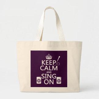 Behalten Sie Ruhe und singen Sie auf (Karaoke) Jumbo Stoffbeutel