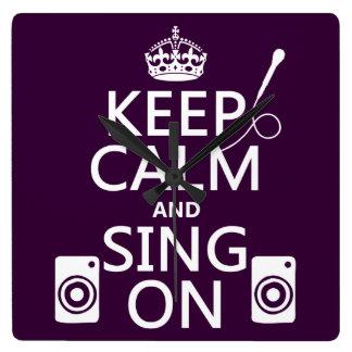 Behalten Sie Ruhe und singen Sie auf (Karaoke) Quadratische Wanduhr