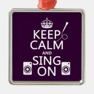 Behalten Sie Ruhe und singen Sie auf (Karaoke) Silbernes Ornament