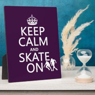 Behalten Sie Ruhe und Skate auf (Rollerskaters) Fotoplatte