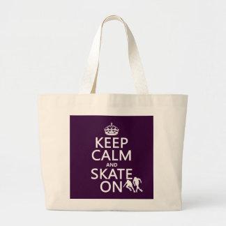 Behalten Sie Ruhe und Skate auf (Rollerskaters) Jumbo Stoffbeutel