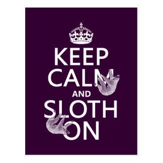 Behalten Sie Ruhe und Sloth an Postkarte